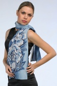 Silk Scarf Blue Flowers
