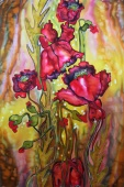 Silk Painting- Poppies Harmony