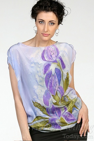 Silk Blouse Blue Lily