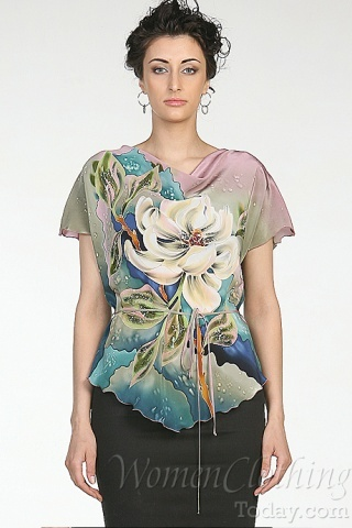 Silk Blouse White Flower