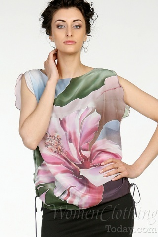 Silk Blouse Pink Flower