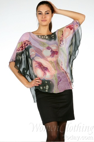 Silk Blouse Pink Flowers Heaven