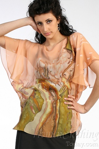 Silk Blouse Tropics Morning