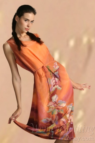 Silk Dress Orange Summer