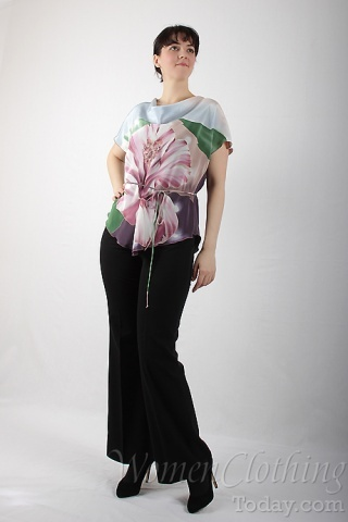 Silk Blouse Pink Flower 2