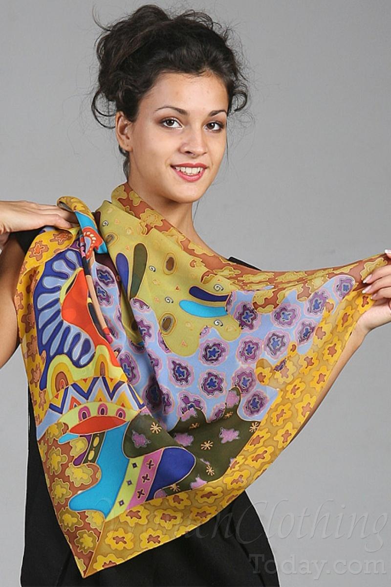 Silk Scarf Black Eyes Designer Silk Scarves Women